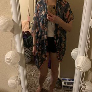 Blue/Pink Floral Poncho